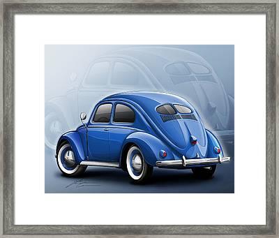 Volkswagen Beetle Vw 1948 Blue Framed Print by Etienne Carignan