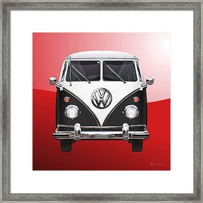 Volkswagen Type 2 - Black And White Volkswagen T 1 Samba Bus On Red  Framed Print by Serge Averbukh