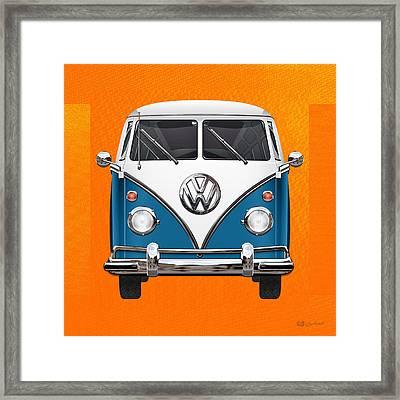 Volkswagen Type 2 - Blue And White Volkswagen T 1 Samba Bus Over Orange Canvas  Framed Print by Serge Averbukh
