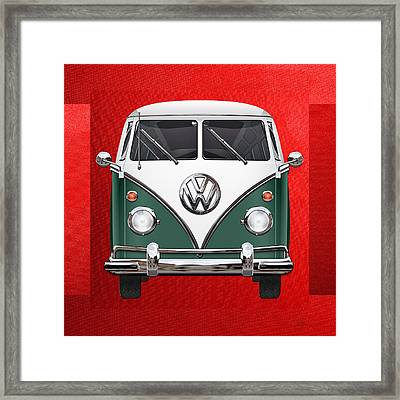 Volkswagen Type 2 - Green And White Volkswagen T 1 Samba Bus Over Red Canvas  Framed Print by Serge Averbukh