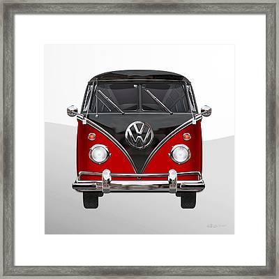 Volkswagen Type 2 - Red And Black Volkswagen T 1 Samba Bus On White  Framed Print by Serge Averbukh