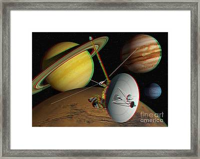 Voyager Spacecraft, Stereo Image Framed Print