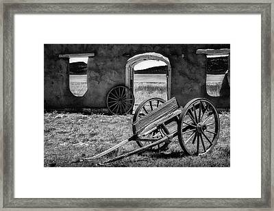 Wagon Wheels In Bw Framed Print