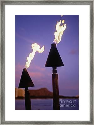 Waikiki, Tiki Torches Framed Print by Carl Shaneff - Printscapes