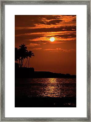 Framed Print featuring the photograph Waikoloa Sunset by Pamela Walton