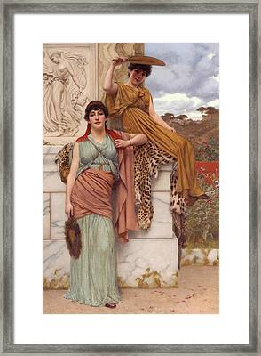 Waiting For The Procession Framed Print by John William Godward