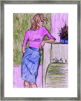 Framed Print featuring the drawing Waiting by P J Lewis