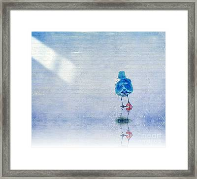 Seagull Walking Away On Ice Framed Print by WBaer