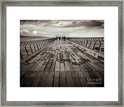 Framed Print featuring the photograph Walking The Pier by Perry Webster