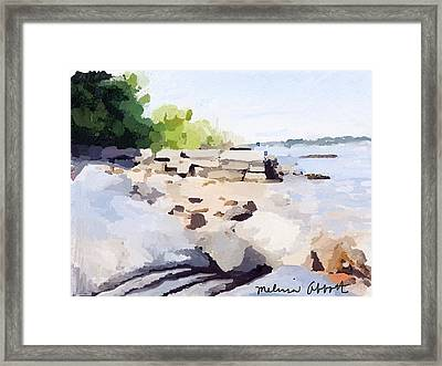 Wall And Beach At Ten Pound Island Framed Print
