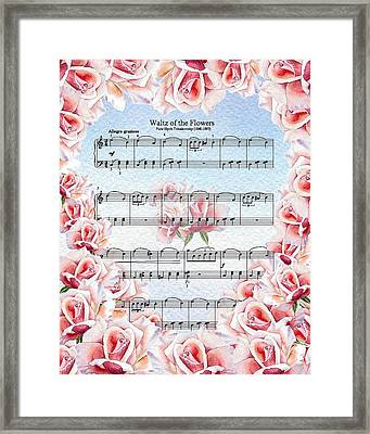 Waltz Of The Flowers Pink Roses Framed Print by Irina Sztukowski