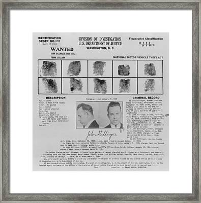 Wanted Poster For John Dillinger Framed Print