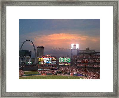 Warm Glow Over St. Louis Arch And Stadium Framed Print