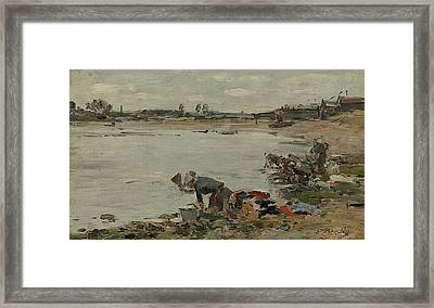 Washers At The Edge Of The Touques Framed Print by Eugene Boudin