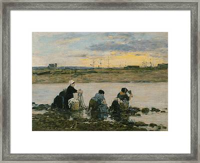 Washerwomen By The River Framed Print by Eugene Boudin