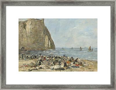Washerwomen On The Beach Of Etretat Framed Print by Eugene Boudin