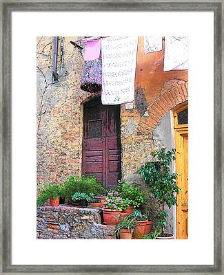 Washing Day Tuscany Framed Print by Jan Matson