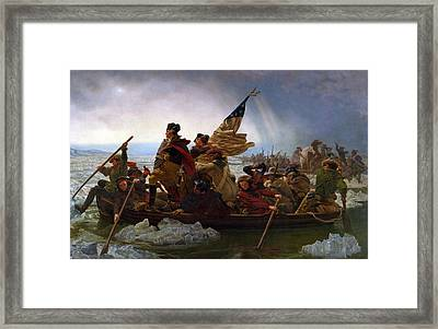 Framed Print featuring the digital art Washington Crossing The Delaware by Emanuel Leutze
