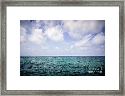 Water Horizon With Clouds And Blue Sky Framed Print