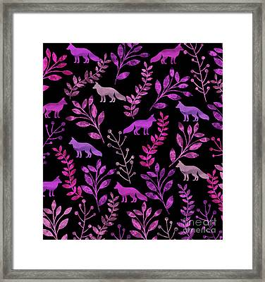 Watercolor Floral And Fox Framed Print