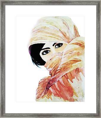 Watercolor Muslim Women Framed Print