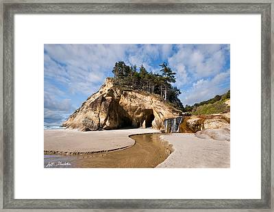 Waterfall Flowing Into The Pacific Ocean Framed Print