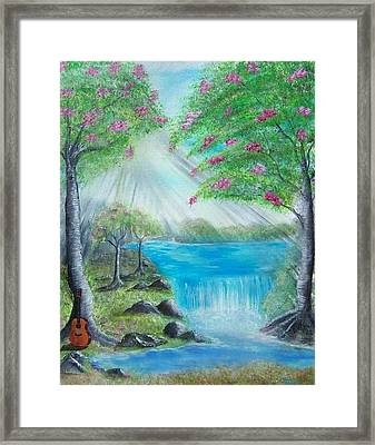 Waterfall Framed Print by Tony Rodriguez