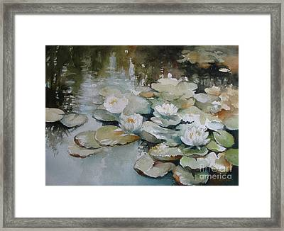Framed Print featuring the painting Waterlilies by Elena Oleniuc