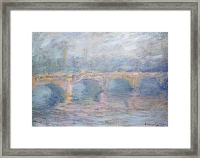 Waterloo Bridge London At Sunset Framed Print by Claude Monet