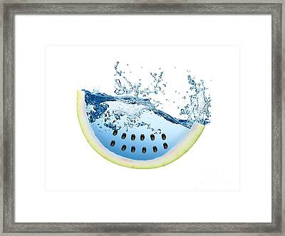 Watermelon Splash Framed Print by Marvin Blaine