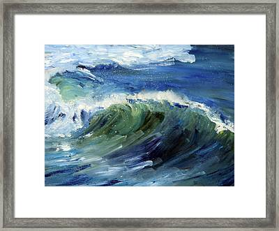 Wave Action Framed Print by Michael Helfen