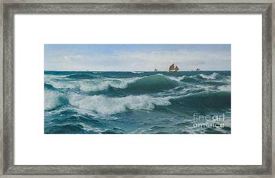 Waves Breaking In Shallow Waters Framed Print