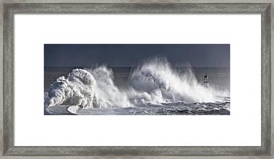 Waves Crashing On Lighthouse, Seaham Framed Print by John Short