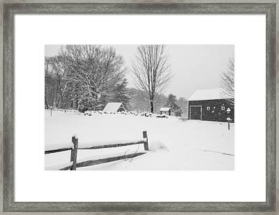 Wayside Inn Grist Mill Covered In Snow Storm Black And White Framed Print
