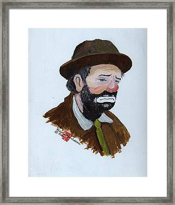Weary Willie The Clown Framed Print by Arlene  Wright-Correll