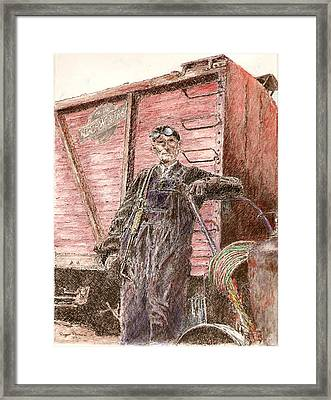 Welder Framed Print by Roger Parnow