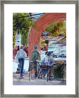 Framed Print featuring the painting West End Arch At Ross by Ron Stephens