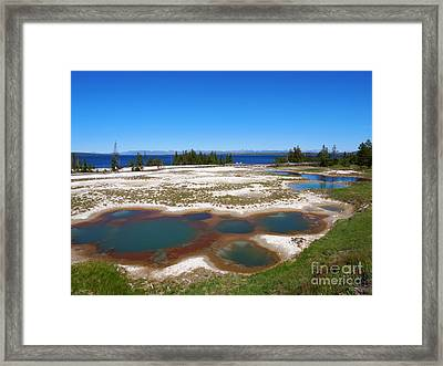 West Thumb Geyser Basin In Yellowstone National Park Framed Print by Louise Heusinkveld