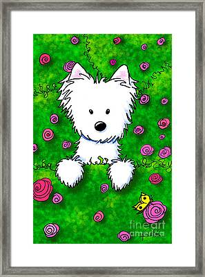 Westie In Roses Framed Print