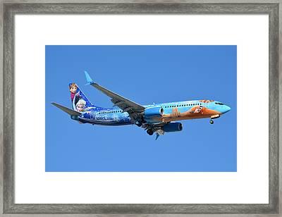 Westjet Boeing 737-8ct C-gwsv Frozen Phoenix Sky Harbor January 29 2016 Framed Print by Brian Lockett