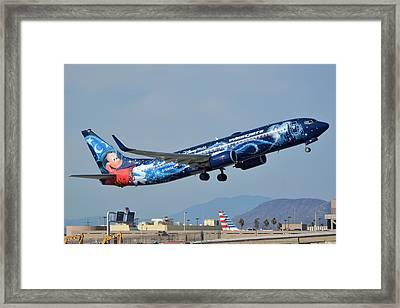 Westjet Boeing 737-8ct C-gwsz Magic Plane Phoenix Sky Harbor January 22 2016 Framed Print by Brian Lockett