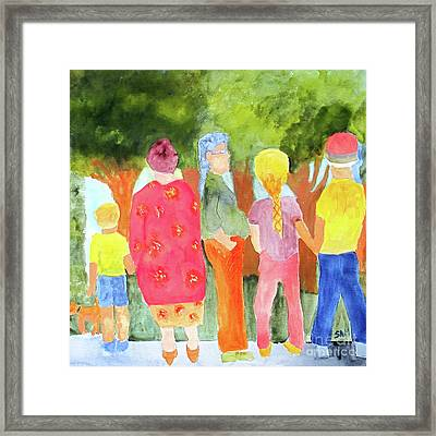 Framed Print featuring the painting What's To See by Sandy McIntire