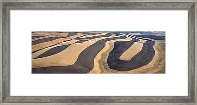 Wheat Fields And Contour Farming, S.e Framed Print by Panoramic Images