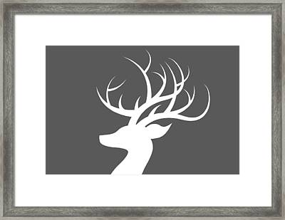 White Deer Silhouette Framed Print by Chastity Hoff