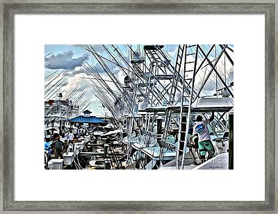 White Marlin Open Framed Print by Carey Chen