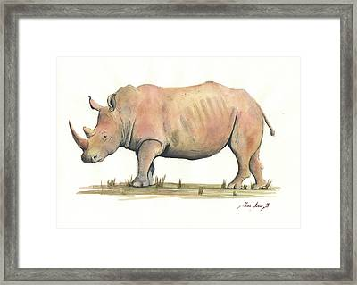 White Rhino Framed Print by Juan Bosco