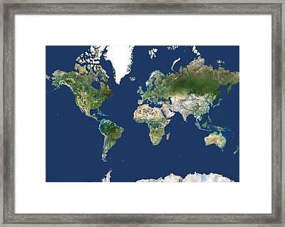 Whole Earth Map Framed Print