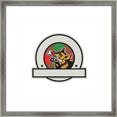 Wild Boar Razorback Bone In Mouth Circle Retro Framed Print