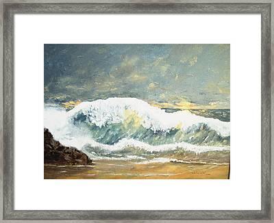 Wild Wave Framed Print by Miroslaw  Chelchowski