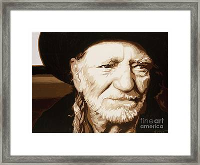 Framed Print featuring the painting Willie Nelson by Ashley Price